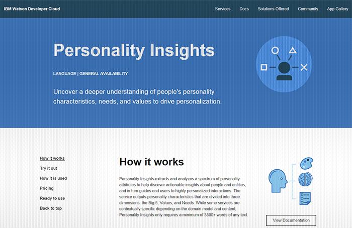 Personality Insights:<br> tu personalidad reflejada en tus palabras